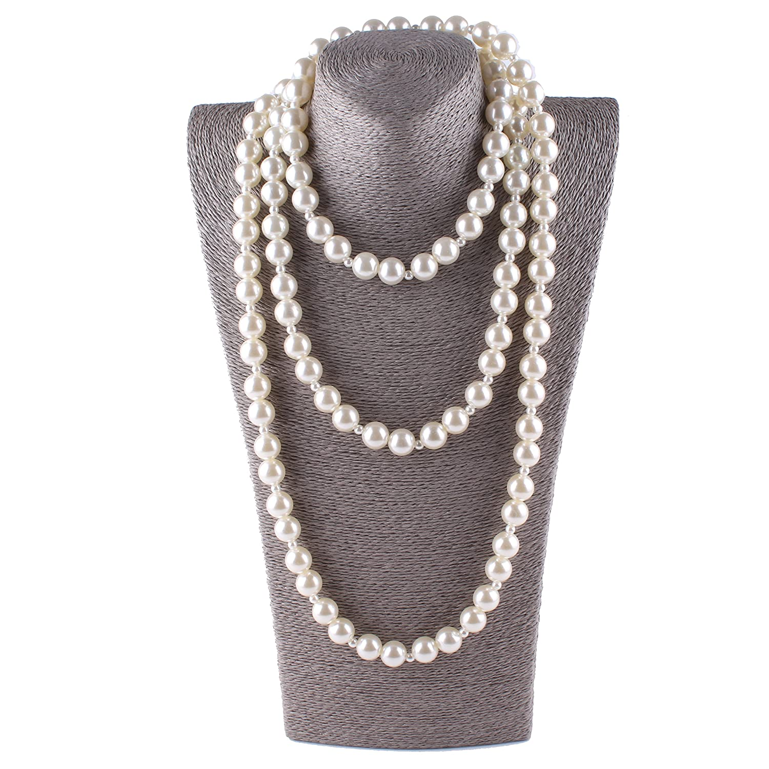 Aibei Pearl Flapper Beads Necklace Multilayer Lvory Strand Chain women's jewelry 71 China ZZXL007