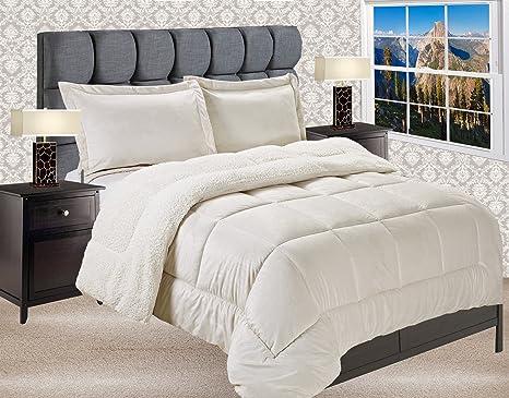 Burgundy Full//Queen Bedford Home 3-Piece Sherpa//Fleece Comforter Set
