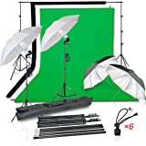 Emart Photo Video Studio 8.5ft x 10ft Backdrop Support System with 1000W Photography Continuous Umbrella Lighting Kit
