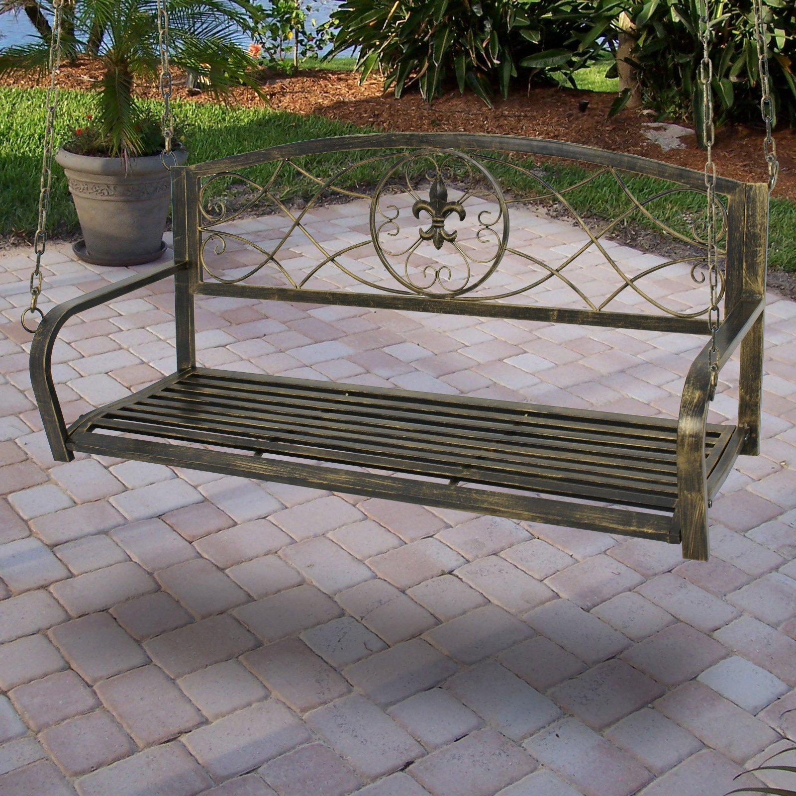Smartxchoices Treated Metal Hanging Patio Swing Bench Porch Furniture Fleur-De-Lis Design 2 Person Heavy Duty Swing Chair 50.5''L by Smartxchoices (Image #7)
