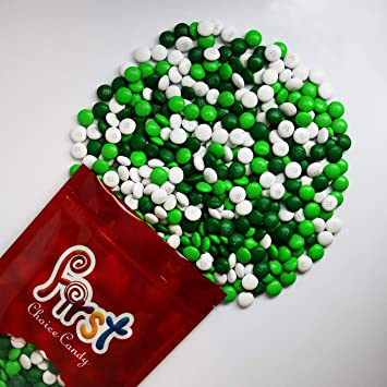m&ms Green, Dark Green & White Milk Chocolate m&m Spring Mix Candy 1 Pound Resealable