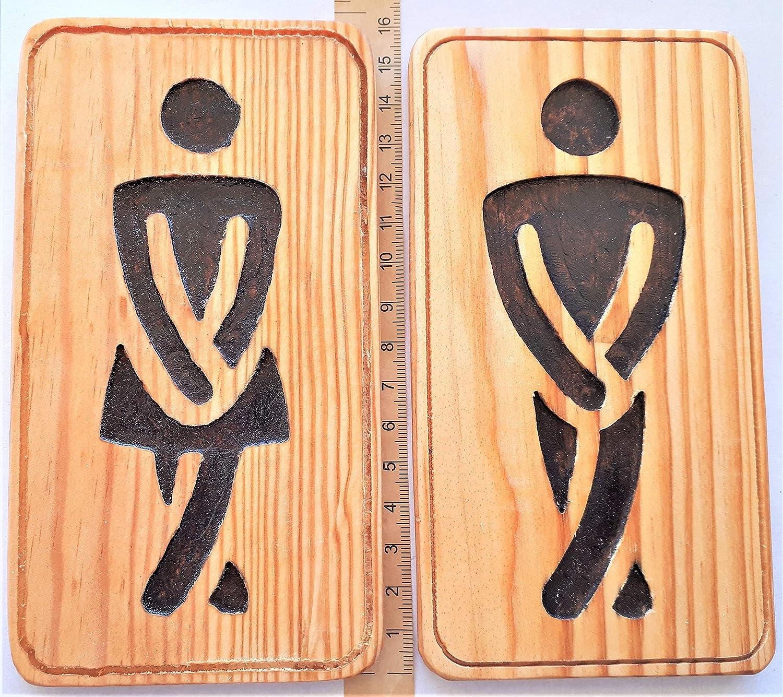 WC Baño Cartel Placa pictograma madera reciclada: Amazon.es: Handmade