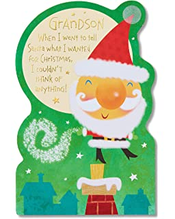 Amazon my holiday wish list letters to santa kit disney american greetings santa christmas card for grandson with foil 5777169 spiritdancerdesigns Gallery