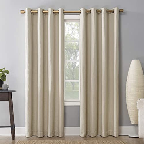 Sun Zero Patina Crosshatch Jacquard Thermal Extreme 100 Blackout Grommet Curtain Panel