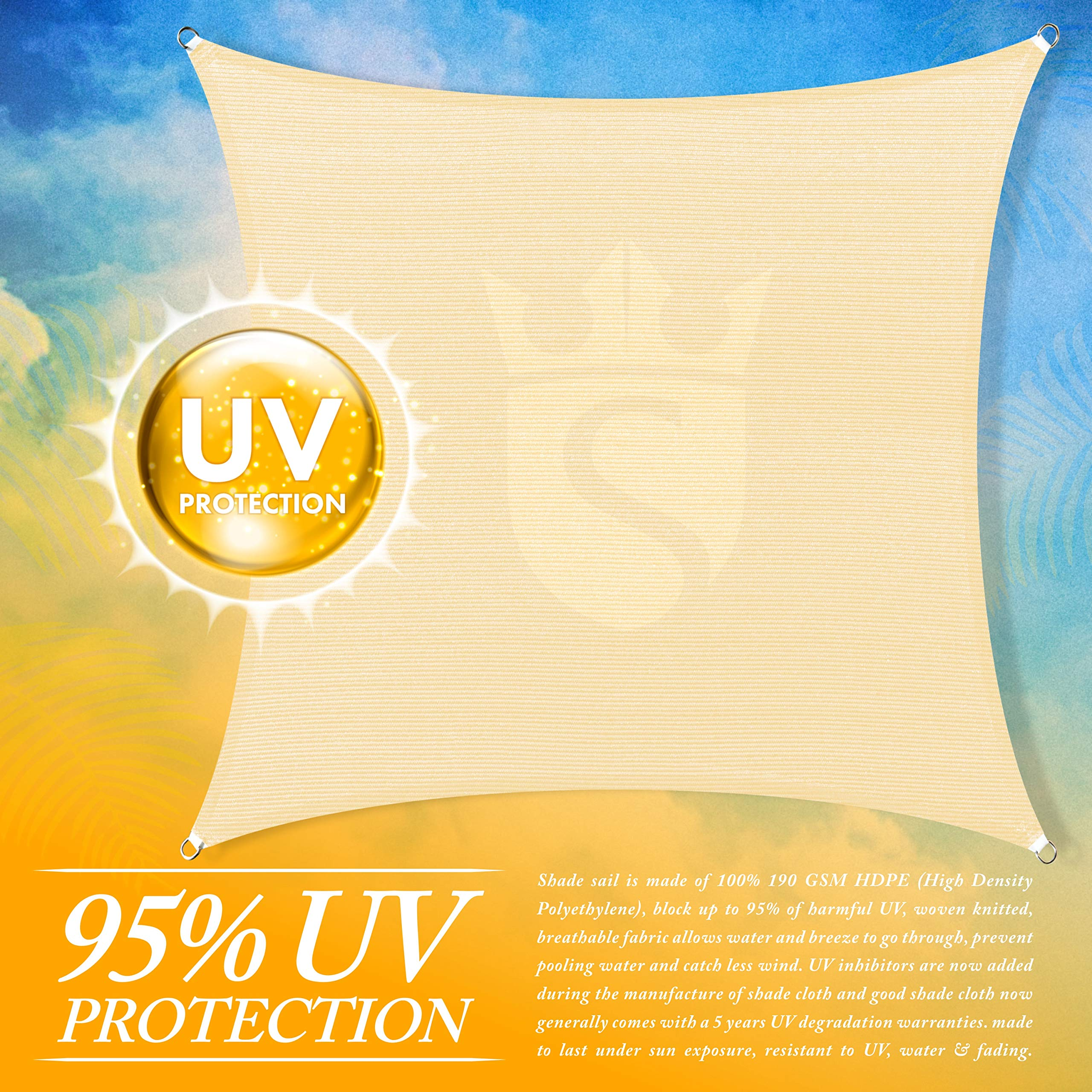 Royal Shade Custom Size 6' x 23' Beige Sun Shade Sail Canopy UV Block Rectangle - Commercial Standard Heavy Duty - 200 GSM - 5 Years Warranty