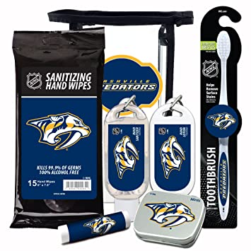 on sale 6b7e4 0d858 NHL Nashville Predators 6-Piece Fan Kit with Decorative Mint Tin,  Toothbrush, Hand Sanitizer, SPF 15...