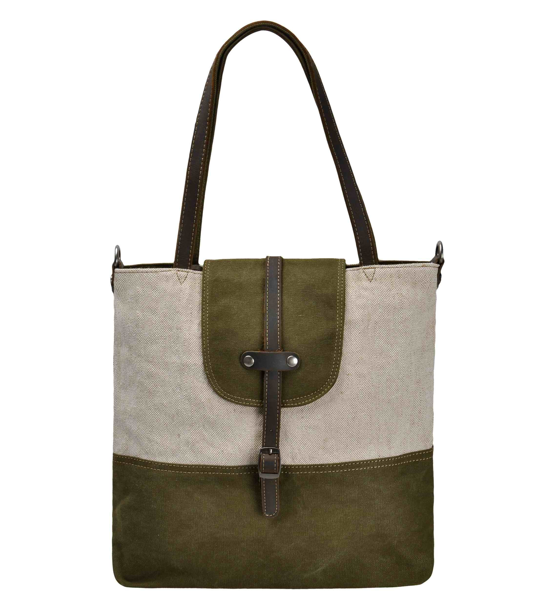 Canvas Tote Bag, ZLYC 2 Ways Use Shoulder Bag Vintage Handbag Leather Trim Casual Shopper Purse