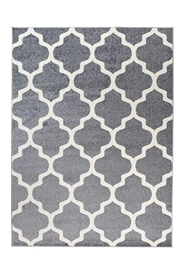 Tapiso Designer Teppich Wohnzimmer Teppich GRAU MODERN Marokkanische  Muster, Größe: 200 X 290 Cm