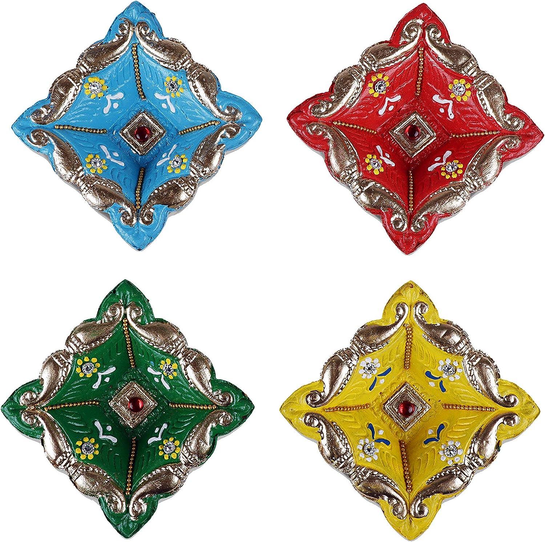 Tuelip Diya for Christmas Decorations Handmade Traditional Terracotta Clay Diya, Earthen Oil Lamp, Multi Color Pack of 4