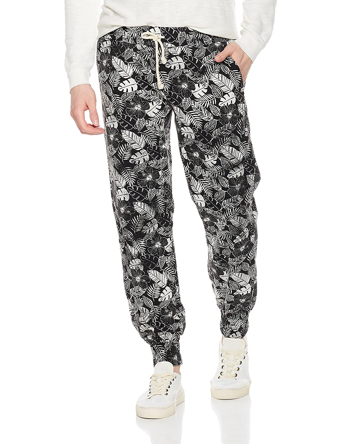 Rebel Canyon Young Men's Slim Fit Elastic Waist Printed Cotton Twill Jogger Sweatpant