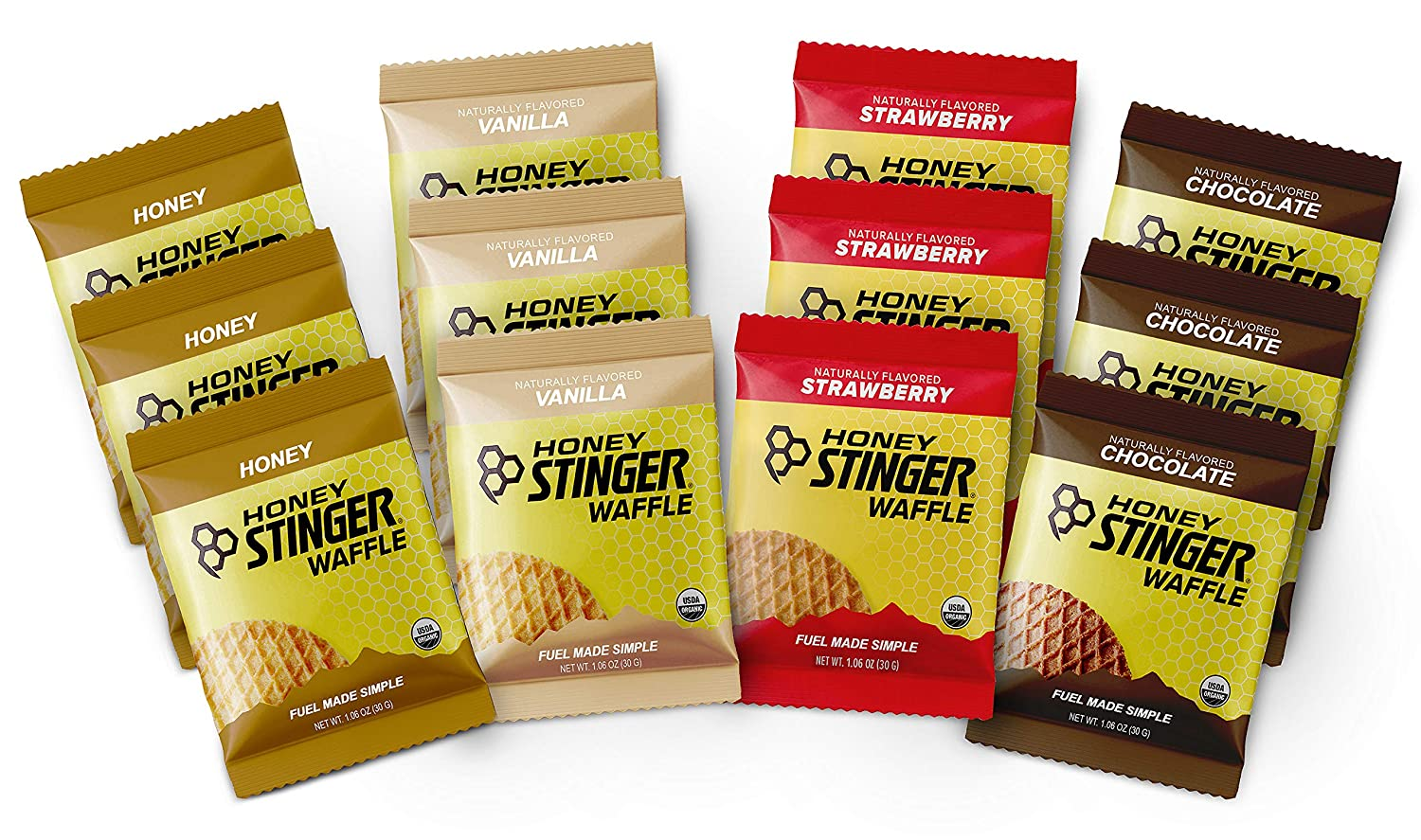 Honey Stinger Organic Waffles - Variety Pack – 12 Count – 3 of Each Flavor – Energy Source for Any Activity – Honey, Vanilla, Strawberry & Chocolate – Plus Sticker