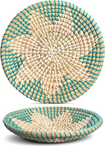 Handmade Wall Basket Decor | Woven Basket Wall Decor | Natural Boho Home Decor | Round Woven Basket | Hanging Wall Decor for Home Bedroom, Kitchen, and Living Room | Decorative Seagrass Bowl - Seafoam