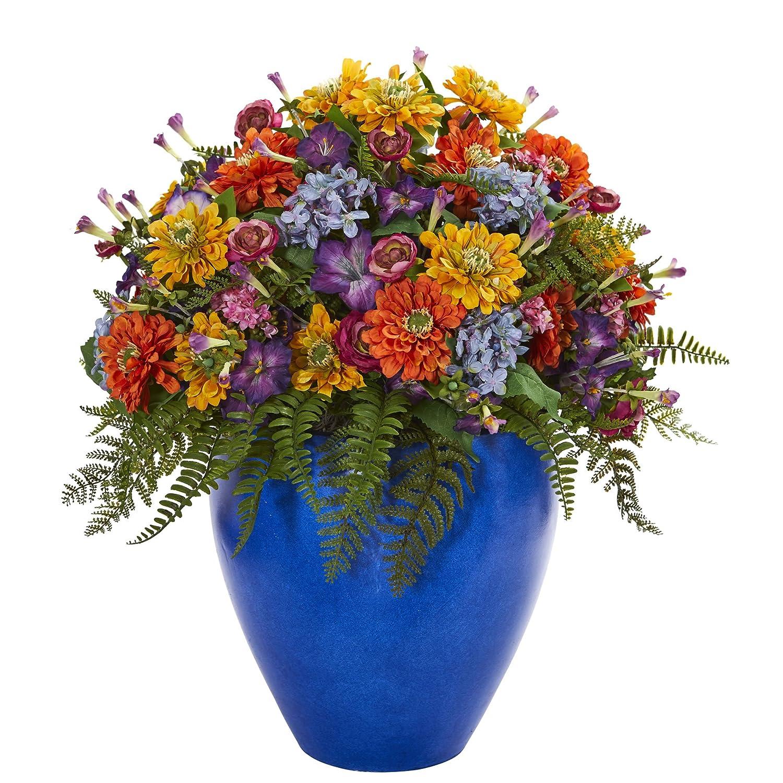 ほぼ天然ジャイアントミックスフローラルブルー花瓶。 B078TYKG4B