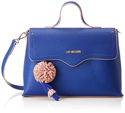 Borsa Small Grain Pu Blu, Womens Bag, Blue, 10x21x32 cm (B x H T) Love Moschino
