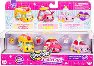 Shopkins Cutie Cars 3 Pack Collections, Die-Cast Collectible Cars with Mini Removable Drive-in Movie Collection