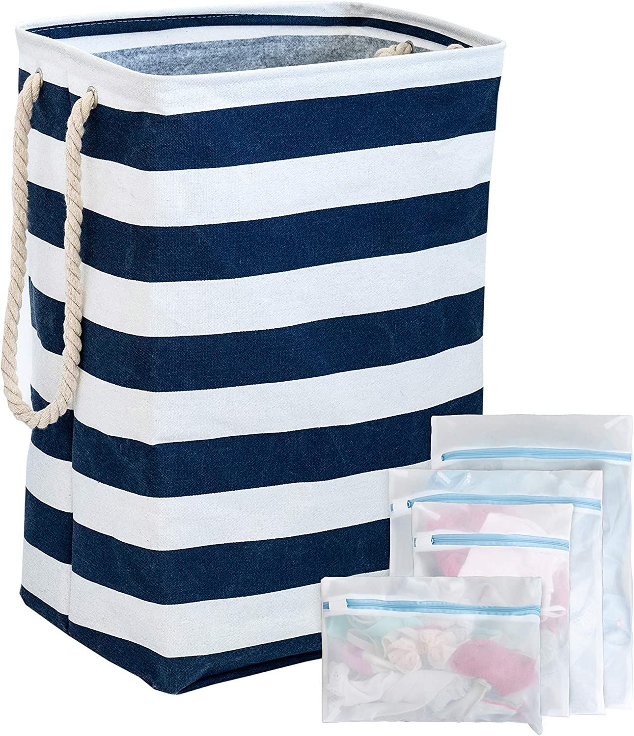 SMIRLY Large Laundry Basket Hamper: 23.6 Inch Tall Foldable Fabric Laundry Bin with White Rope Handles and 4 Cloth Mesh Laundry Bags - Collapsible Clothes and Toy Storage Baskets - Navy Blue Stripes