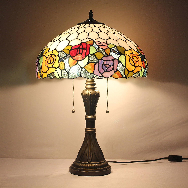 Europea Tiffany Lámpara de mesa de 16 pulgadas Pastoral Rose Lujo ...