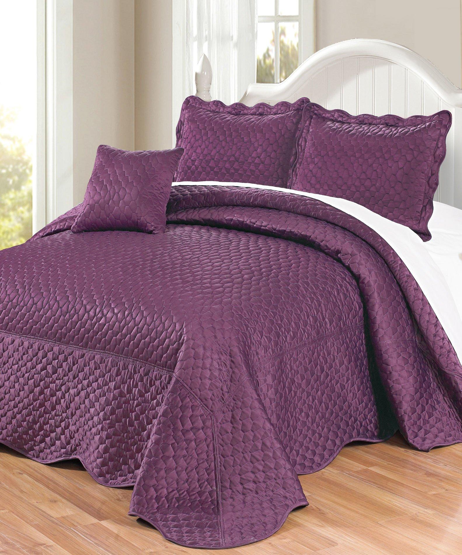 Serenta Matte Satin 4 Piece Bedspread Set, King, Prune Purple