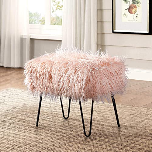 Home Soft Things Serenta Mongolian Faux Fur Ottoman, Rose, 19 x 13 x 17