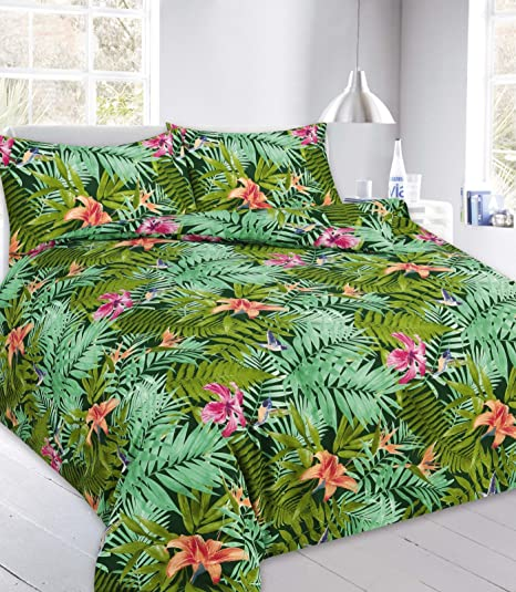 29b902641 Hendem® Abby Leaf Duvet Cover Set With Pillow Case Floral Modern Bedroom  Quilt Cover All Sizes (Green, King): Amazon.co.uk: Kitchen & Home