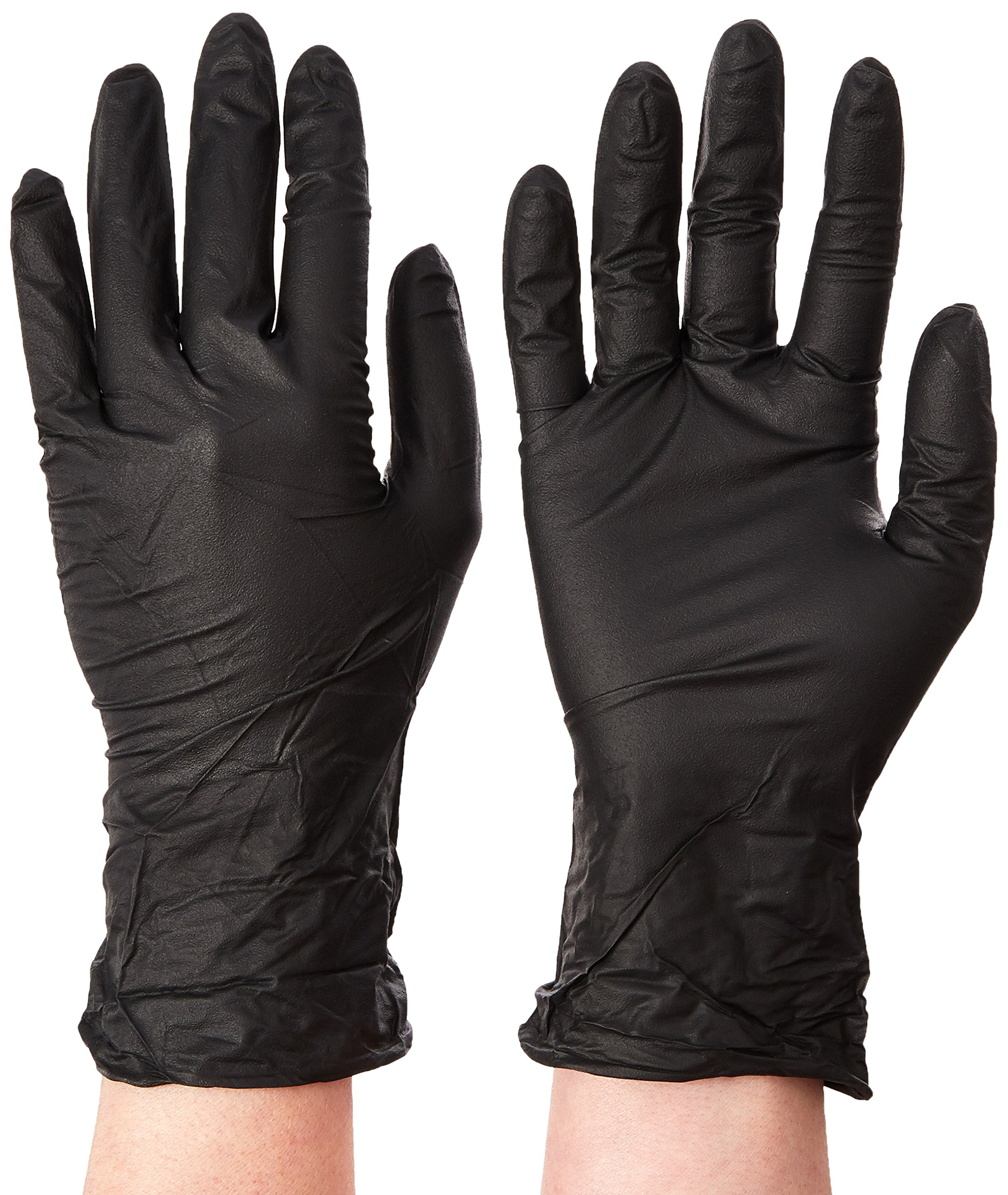 Microflex MK-296-S MidKnight Powder-Free Examination Glove, 9.6'' Length, 3.1'' Cuff Thickness, 4.7'' Palm Thickness, 5.5'' Finger Thickness, Small, Black (Pack of 100)