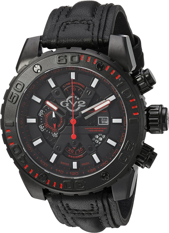GV2 by Gevril Polpo Mens Chronograph Swiss Quartz Black Leather Strap Watch, (Model: 1404)