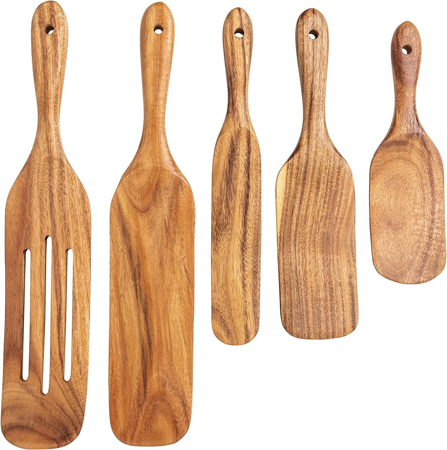 DAN and CHER's Wooden Spurtles - set of 5 pcs quality handmade wood utensils set for cooking light yet durable, scoop, stir, scrap with these wood spurtles - Easy to Clean spatula/wooden spurtle set