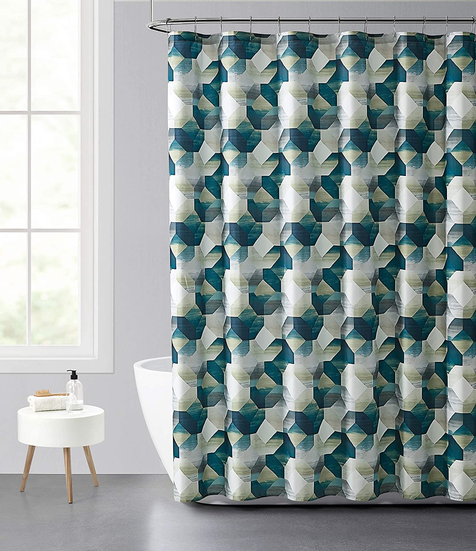 Aqua Mint Grey Caromio Fabric Shower Curtain Geometric Quatrefoil Patterned Modern Poly Cotton Farmhouse Shower Curtain For Bathroom 72x78 Inches Shower Curtains