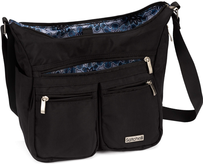 Satchelli Crossbody Bag with RFID Blocking Anti Theft Wristlet, Black Cross Body Travel Purse for Women