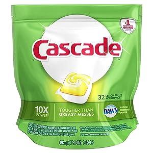 Cascade ActionPacs Dishwasher Detergent Lemon Scent, 32 ct