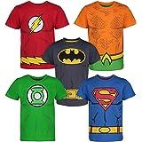 DC Comics Camiseta con los Superhéroes de la Justice League - Batman, Superman, Flash, Green Lantern y Aquaman para…