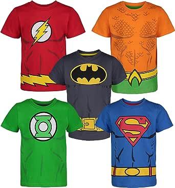 DC Comics Camiseta con los Superhéroes de la Justice League - Batman, Superman, Flash, Green Lantern y Aquaman para Niños (Pack de 5)