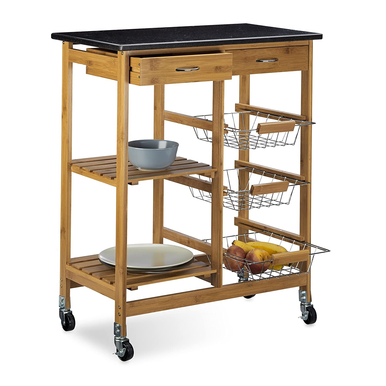 Relaxdays Alfred Kitchen Island Serving Trolley Cart with Marble ...