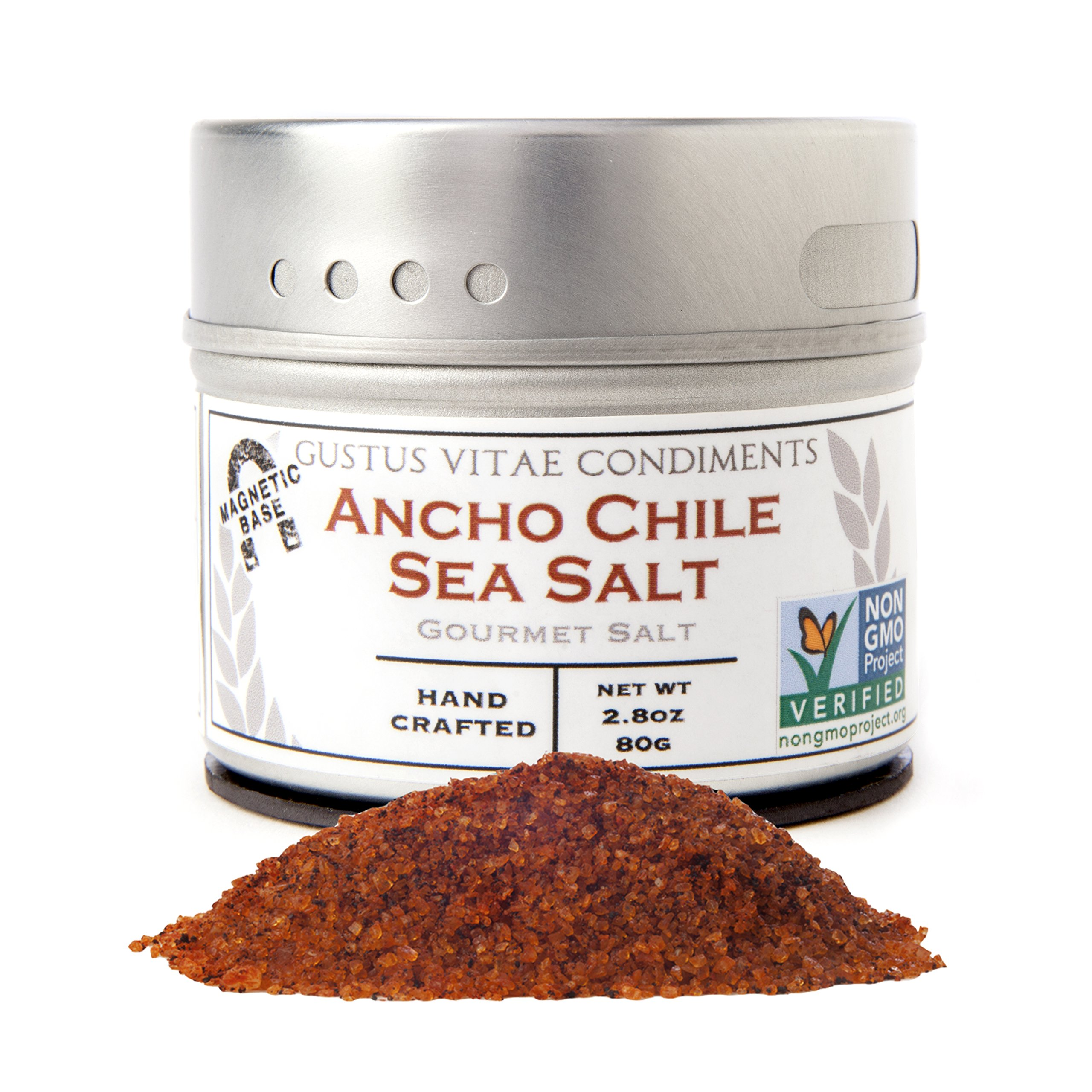 Gustus Vitae Ancho Chile Sea Salt, 2.8 Ounce,Gourmet Salt