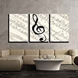 Wall26   3 Piece Canvas Wall Art   Music Note On Vintage Musical Score  Paper