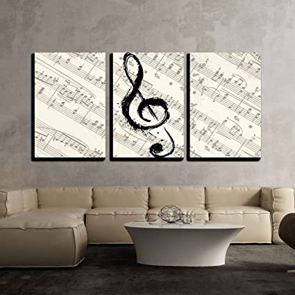 Amazon.com: wall26 3 Piece Canvas Wall Art - Music Note on Vintage ...