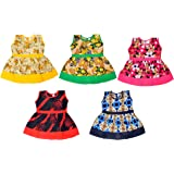 Sathiyas Baby Girls Cotton Gathered Dresses (Multicolor, Set of 5) (asvinf49)