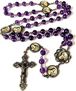 elegantmedical Amethyst ST.Therese Rosary Cross Crucifix 5 Decade Necklace Box Beads Catholic Bracelet
