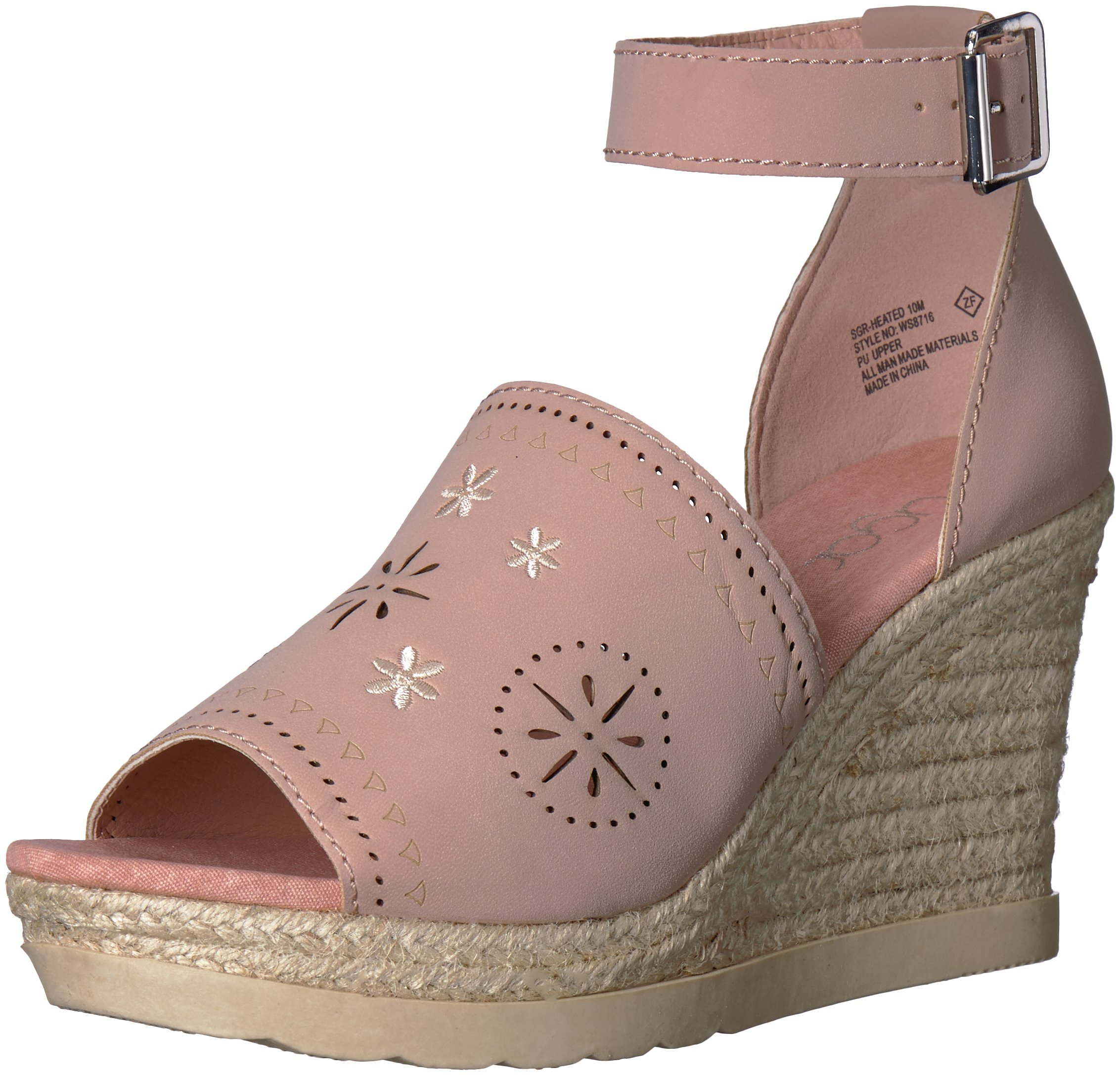 Sugar Women's SGR-Heated Espadrille Wedge Sandal, Blush Nubuck, 7.5 M US