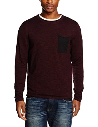 JACK & JONES Herren Pullover Jorflicker Knit Crew Neck, Rot (Port Royale Fit :