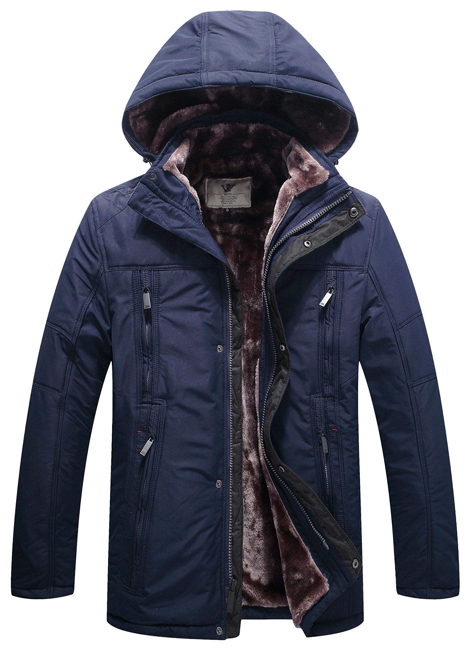 WenVen Men's Multi Pockets Sherpa Lined Parka Jacket(Navy,Medium)