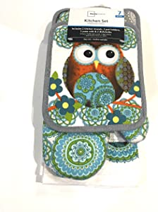 Owls Mainstay Print Kitchen Towel Set
