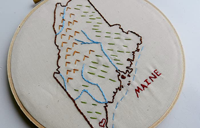 Amazon Maine State Map Hoop Art 7 Inch Embroidery Hoop Art
