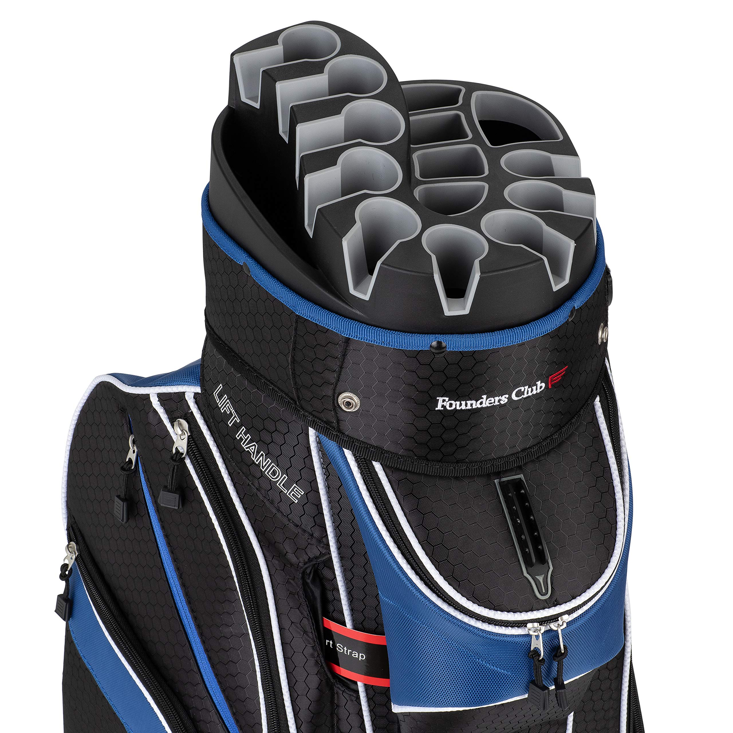 Founders Club Premium Cart Bag with 14 Way Organizer Divider Top (Blue and Black) by Founders Club