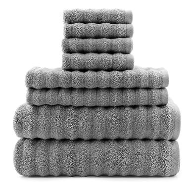 Darware 100% Cotton Gray Towels (8-Piece Set), Quick-Dry 510 GSM Zero-Twist Bath Towels (Gray)