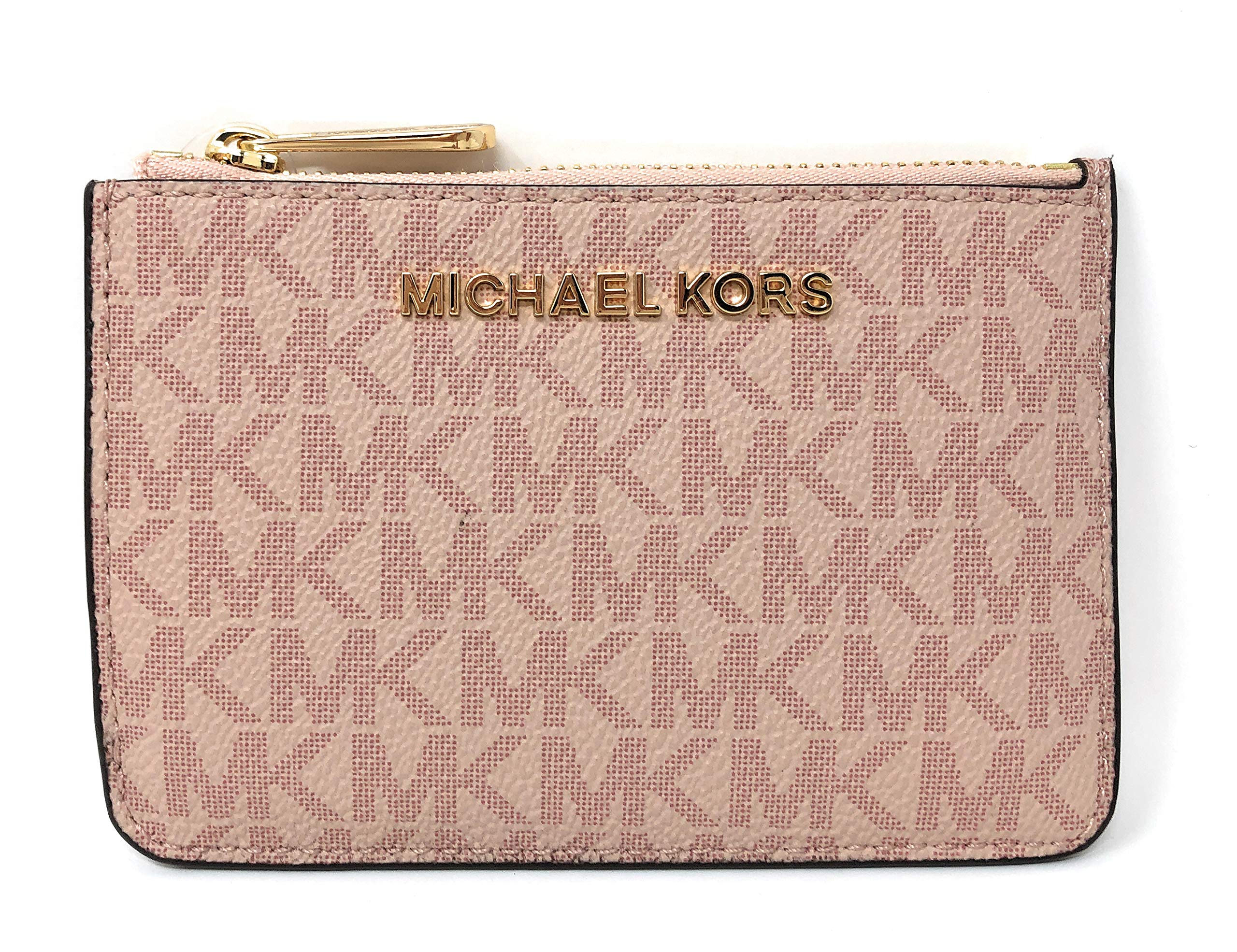 Michael Kors Jet Set Travel Small Top Zip Signature Coin Pouch ID Card Case Wallet In Ballet