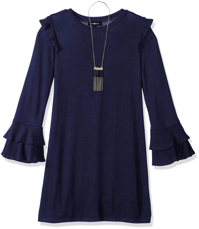 Amy Byer Girls' Big Bell Sleeve Fuzzy Knit A-line Dress 2209J1W