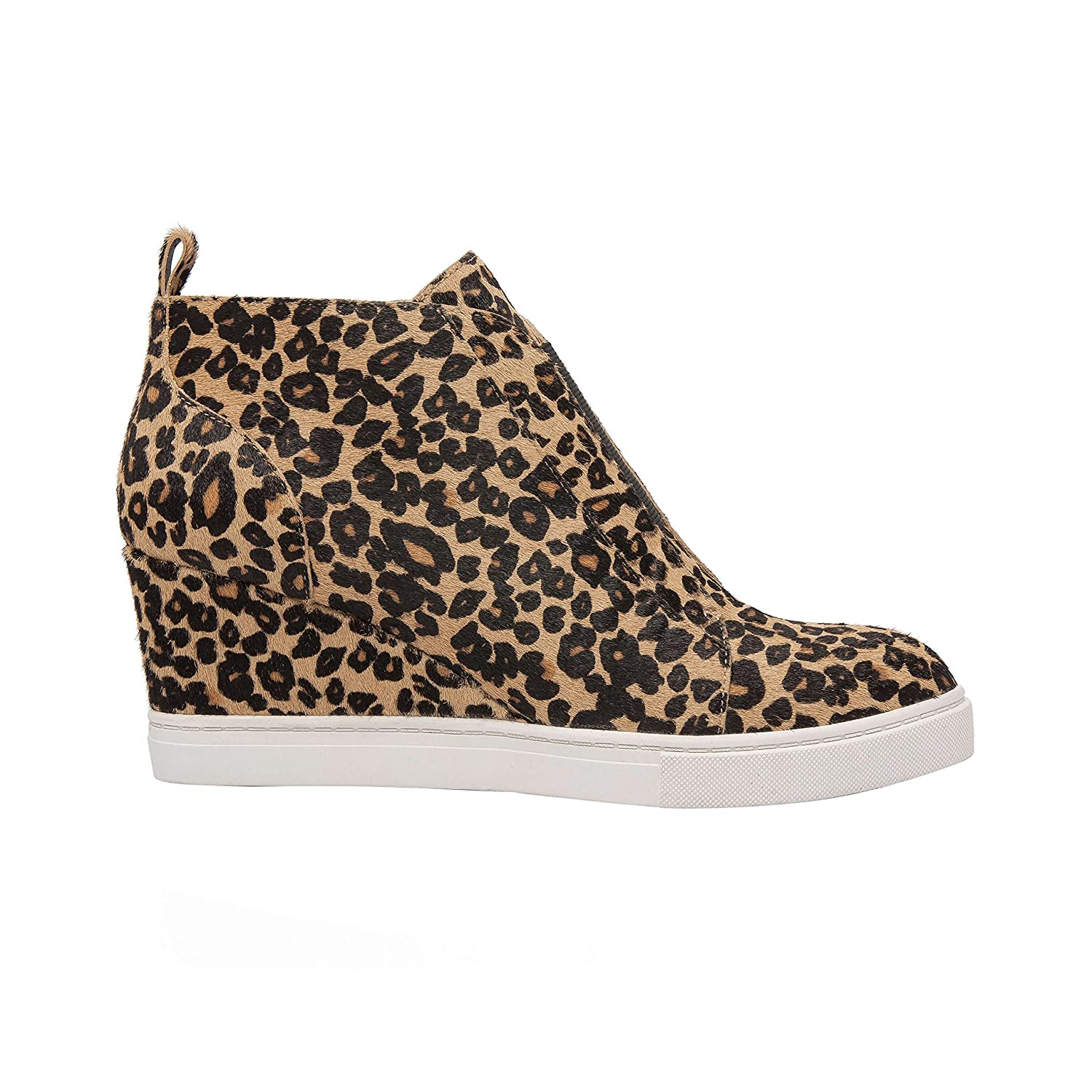 Felicia | Women's Platform Wedge Bootie Sneaker Leather Or Suede B07F6P27F9 8 M US|Sand/Black Leopard Print Hair Calf