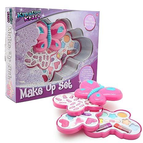KreativeKraft Maquillaje para Niñas Estuche de Forma de Mariposa con Pintalabios Brillos de Labios Sombras Uñas