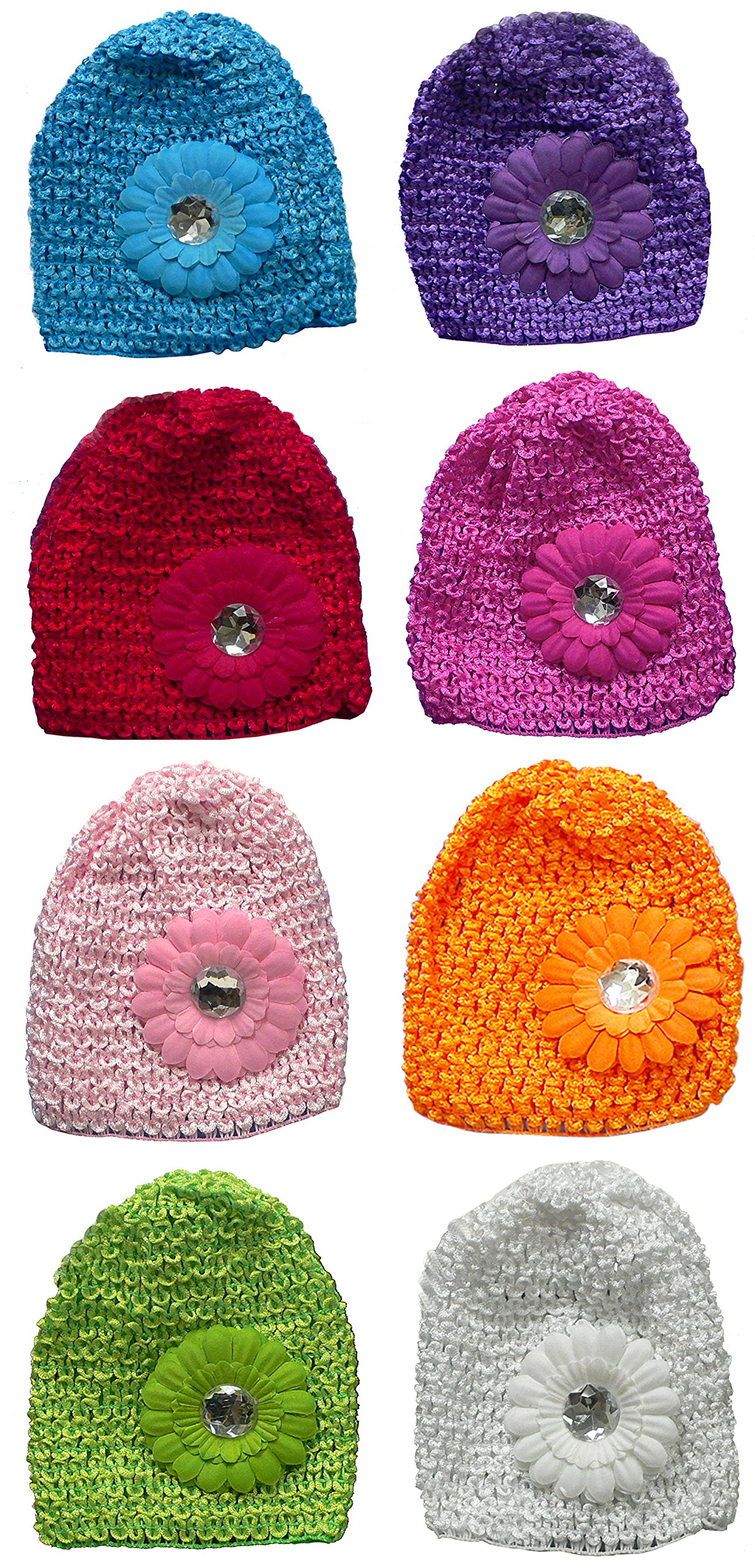 Bella Set of 8 Toddler Knitted Bonnets Baby Girl Hats U16250-0020-8